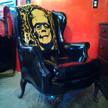 FRANKENSTEIN CHAIR REPURPOSED-- from vintage chair , one of a kind, themed,art chair,easy chair,hand painted chair, black This one is sold!!