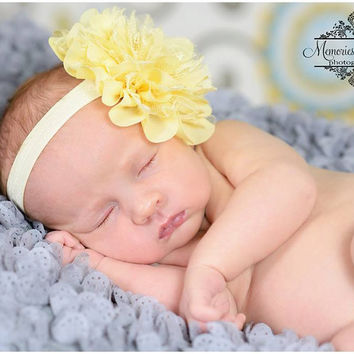 Large Light Yellow Chiffon Lace flower puff headband