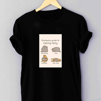 Pusheen cat guide to being lazy - T Shirt for man shirt, woman shirt XS / S / M / L / XL / 2XL / 3XL**