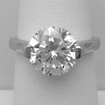 3 Carat 10mm 2 Prong Cubic Zirconia Solitaire Engagement Ring (Low Setting Profile) by CZ Sparkle Jewelry®