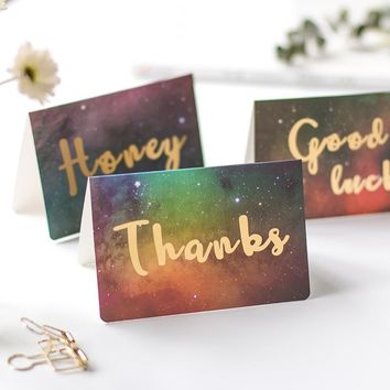 1pc Creative Bronzing word  Star universe greeting card gift Wedding Invitatio thanks birthday card paper Thanksgiving