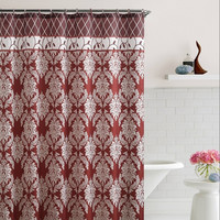 "Brookdale Red Embossed Microfiber Shower Curtain 72""x 72"""