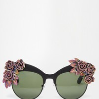 Rad + Refined Cat Eye Sunglasses with Multi Coloured Glitter Roses