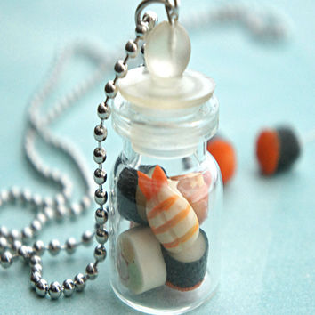 assorted sushi in a jar necklace