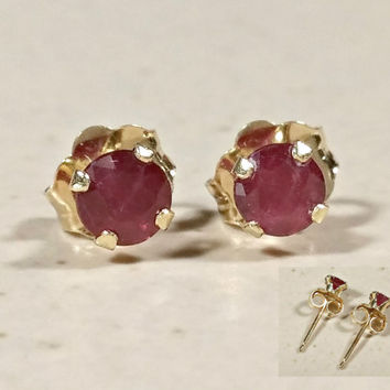 Red Ruby Gold Stud Earrings 14k Petite Red Gemstone Gift for Her July Birthstone Fine Gold Earrings for Pierced Ears Prong Set Tiny Studs
