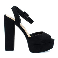 Tournament04M by Bamboo, Black Women's Chunky Block Heel Platform Dress Sandal w Peep Toe