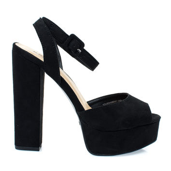 Tournament04M Black By Bamboo, Women's Chunky Block Heel Platform Sandal w Peep Toe
