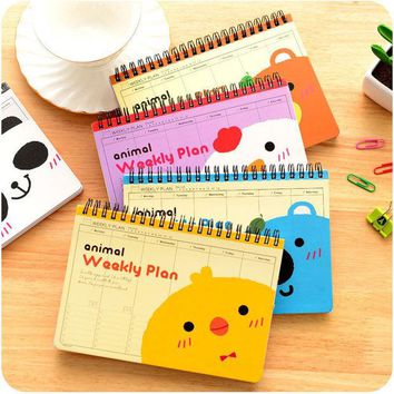 DCCKL72 Cute animal Weekly plan Coil spiral Notebook Diary book agenda papelaria caderno escolar stationery office School supplies 5508