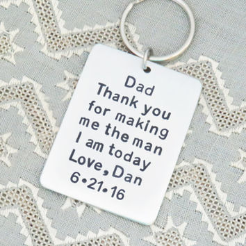 Father of the groom gift - Personalized father of groom gift - Thank you for making me the man I am today keychain