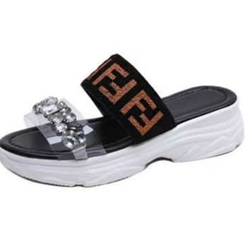 FF Letter FENDI Diamond Thick Sole Sandal Slipper Beach Shoes Black
