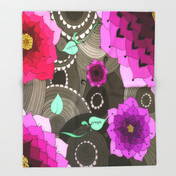 Concentric Floral Throw Blanket by DuckyB (Brandi)