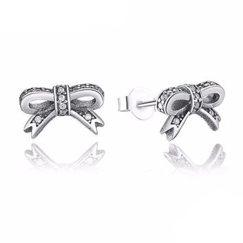 925 Sterling Silver Sparkling Bow Knot Earring