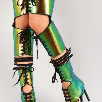 Privileged Rocker Iridescent Lace Up Thigh High Open Toe Heel