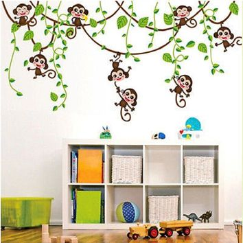 Cute Jungle Monkey Tree Vine Wall Stickers Vinyl Art Decals Kids Baby Room Decor