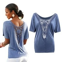 EBUYTIDE Women's Lace Patchwork Tops Hollow Out Pleated Tunic T-shirts