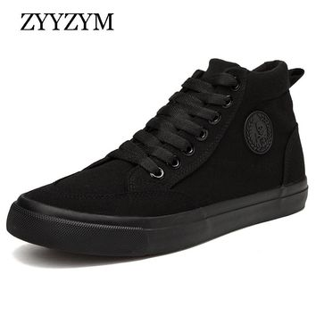 ZYYZYM Shoes Men Spring Autumn 2018 Lace-up High Style Men Vulcanize Shoes Fashion Flats Youth Men Shoes Sneakers Hot Sale