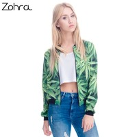 Women Bomber Jacket Printed Weeds Outwear Long Sleeve Short Jacket Coats Casual Basic Jackets
