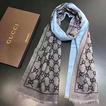 GUCCI Stylish Classic Double G Letter Cashmere Cape Scarf Scarves Shawl Accessories