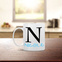 Custom Initial and Name Ceramic Coffee Mug - Dishwasher Safe - Cute Coffee Mug- Funny Coffee Mug - Custom - Personalized