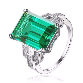 Heritage 9CT Emerald Cut Simulated Russian Emerald IOBI Precious Gems Ring