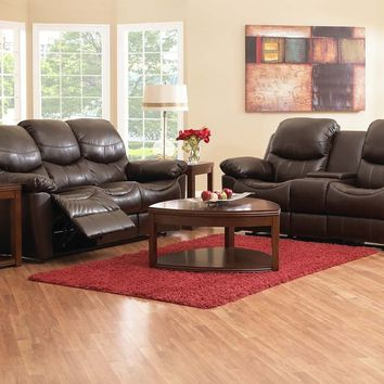 Klaussner Fossil Baxton Chocolate Reclining Sofa and Loveseat