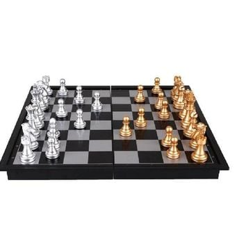 8 Inch Plastic Chess Set Silver Gold Mini Foldable Board Game