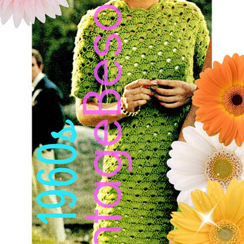 INSTANT DOWNlOAD - PdF Pattern - Summer Shells Dress Crochet PATTERN Vintage 1960s Shell Shift is Easy to Make and Easy to Wear Fashion