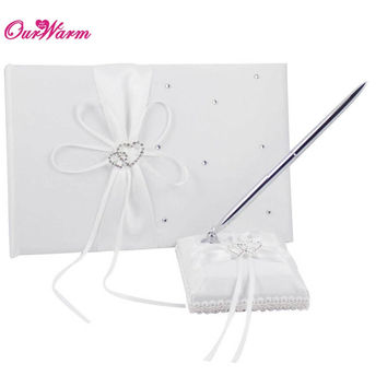 2Pcs/set Wedding Guest Signature Book Pen Set with Satin Bows Wedding Decoration Heart Rhinestones Pen Stand Holder 8 Colors