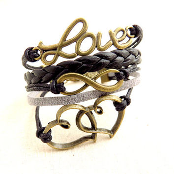 Hearts, Infinity and Love Cord Bracelet