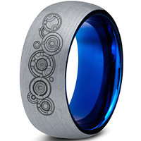 Gallifreyan Doctor Who Silver Blue Dome Tungsten Ring