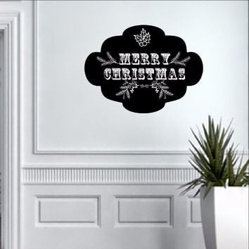 Chalkboard Art Inspired Merry Christmas Vinyl Wall Decal 22493