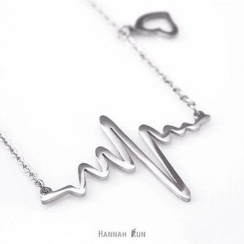 Sterling silver Heartbeat Necklace, Heart beat Jewelry, Heart Necklace