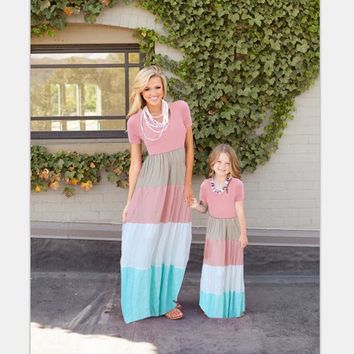 Mother Daughter Matching Long Maxi Dress - Blue and Pink
