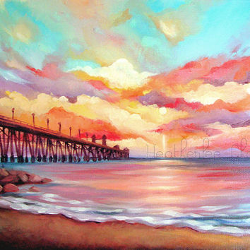 Beach Painting - Sunset Landscape - Acrylic - Print 8x10