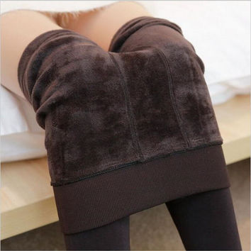 2016 Autumn and Winter Fashion Women's Plus Cashmere Tights High Quality Knitted Velvet Tights Elastic Slim Warm Thick Tights