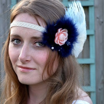 Great Gatsby Flapper Feather Headpiece, Downton Abbey, Beaded Art Deco, 1920s headband headdress vintage
