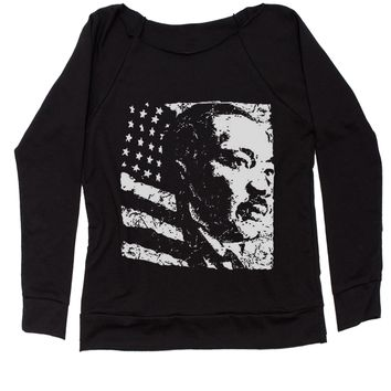Martin Luther King Jr. American History Slouchy Off Shoulder Oversized Sweatshirt
