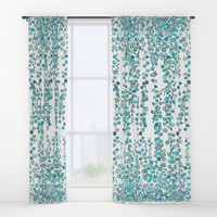 string of pearl watercolor Window Curtains by Color and Color