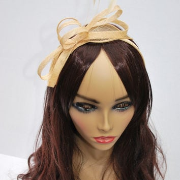 Champagne Gold Fascinator , Womens Tea Party Hat, Church Hat, Derby Hat, Fancy Hat, Champagne Gold  Hat, Tea Party Hat, wedding hat