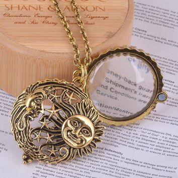LMFUS4 magnifier glass pendant sun with moon and stars necklace antique gold jewelry opens and closes