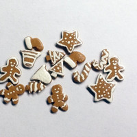 Christmas Cookies, Dollhouse Miniature, 1:12 Scale, Gingerbread Cookies