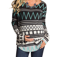 Tribal Striped Maternity Top
