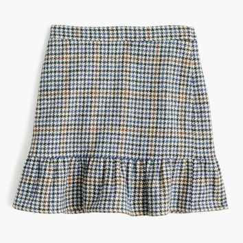 Ruffle mini skirt in houndstooth