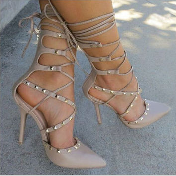 6de6abf22816 Fashion lace up hollow high-heels metal shoes women sandals