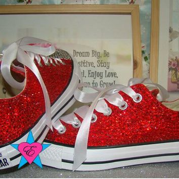 Red and Clear Crystal Low Top Converse with Ribbon Laces and Nam 0c2afd37f152