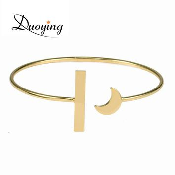DUOYING Brand Moon 25*3 mm Bar Bracelet & Bangle Custom Name Personalized Beauty Bracelet Cuff Jewelry for Women Etsy Supplier