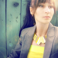 Yellow geometric leather necklace