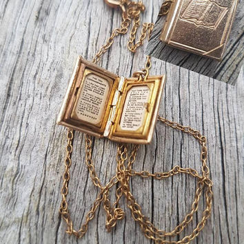 Vintage Book Pendant The Ten Commandments Gold Filled Unisex Religious Locket  Pendant