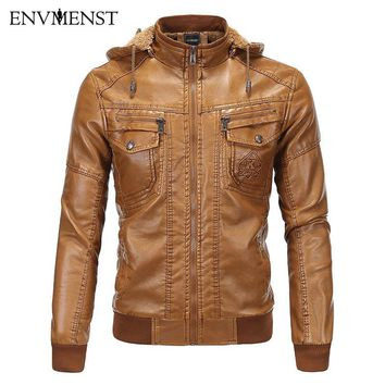 Envmenst 2017 Men Zipper Leather Jacket Motercycle Thick Winter Plus Cashmere PU Leather With Hat Men's Coat Cool Clothing