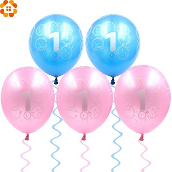 10PCS 12inch Pink&Blue Balloons for Baby 1st Birthday Celebration Boy&Girl Baby Showers Kids Year Birthday Home Party Decoration